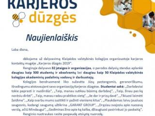 Klaipėdos valstybinės kolegijos padėka